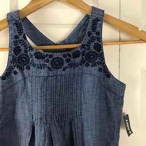 Old Navy Chambray Dress Floral Embroidery Blue